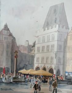 Trier Hauptmarkt mit Marktkreuz und Steipe