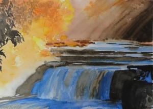 Naturschauspiel Wasser Herbst