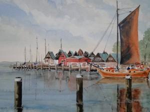 Zeesenboot im Althäger Hafen Ostsee<br/> Größé 41 x 31 cm