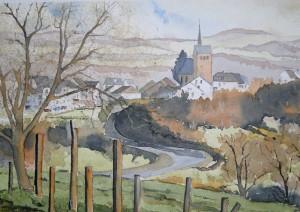 Blick nach Gutweiler mit Kirche <br/>