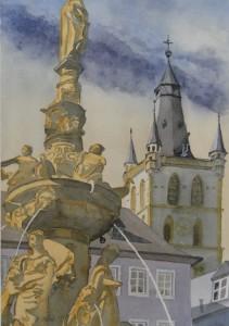 Trier Marktbrunnen mit Gangolfturm