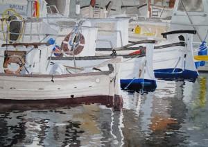 Menorca Boote im Hafen