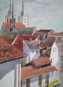 Fulda Altstadt mit Pfarrkirche St. Blasius Blick vom Gasthaus Zum Ritter