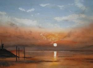 Föhr Sonnenaufgang Hafen Wyk