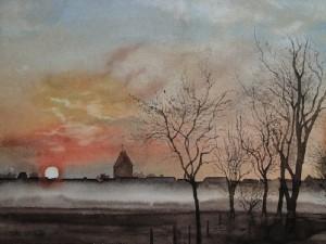 Föhr Sonnenaufgang über Boldixum bei Wyk