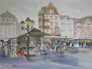 Trier  Hauptmarkt mit Kiosk  38 x 56 cm