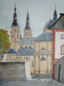 Fulda Dom von Seitenstraße Michaelskirche Hinterburg gesehen