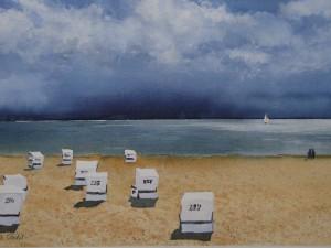 Sylt Strandkörbe vor Unwetter