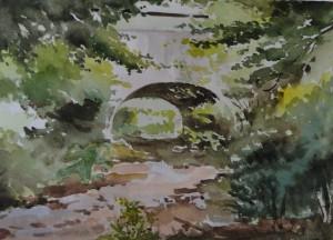 Brücke über den Bausbach  Zwischen Waldrach und Riveris  26 x 36 cm