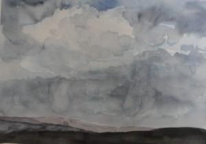 Gewitter  über Gusterather Höhe  26 x 36 cm