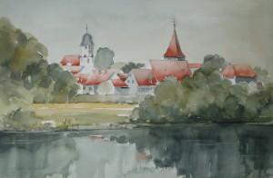 """Winterhausen  Blick von Sommerhausen  Terrasse  """"Zum Anker""""  38 x 56 cm"""