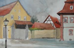 Sommerhausen  Blick von Hs. Kirchplatz Nr.1  nach Hauptstraße  38 x 56 cm