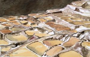 AndensalzSalzterrassen von Maras,PeruGröße 38 x 56 cm