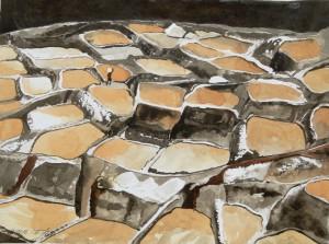 AndensalzSalzterrassen von Maras,PeruGröße 38 x  50 cm