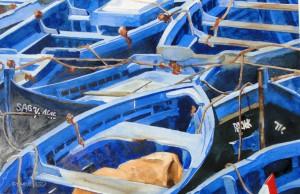 Boote im Hafen von Essaouira MarrokkoGröße 38 x 56 cm
