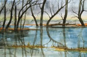 Hochwasser an der Havel Größe 38 x 56 cm