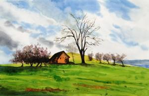 Landschaft im Frühling Größe 38 x 56 cm