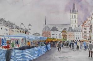 Trier Hauptmarkt Markttag Größe 38 x 56 cm