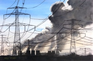 Kohlekraftwerk  aussterbende Spezies  Größe 38 x 56 cm
