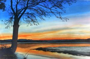 Neuseeland  Lake Moeraki  Im Hintergrund Souther Alps  Größe 38 x 56 cm