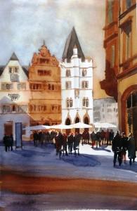 Trier Fleischstr. mit Steipe Größe 38 x 56 cm