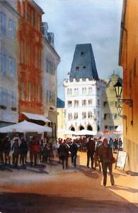 Trier  Sternstr. mit Steipe  Größe 38 x 56 cm