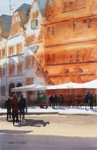 Trier  Straßenszene am Hauptmarkt  Größe 38 x 56 cm