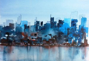New York  Skyline  Größe 18 x 28 cm
