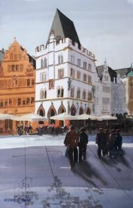 Trier  Hauptmarkt mit Steipe  Größe 38 x 56 cm