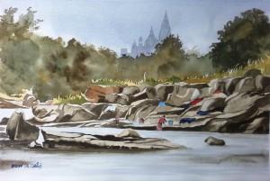 Indien  Khajuraho Khudar RiverGröße 38 x 56 cm