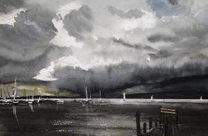 Gewitterstimmung  am Ammersee  Größe 38 x 56 cm