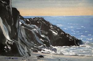 Island  Strand bei Dyrholaey-Arch  Größe 38 x 56 cm